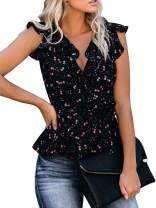 Womens Floral Printed Tank Tops Wrap V Neck Knot Tie Front Vintage Ruffle Sleeve Sexy Blouses