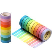 WIN-MARKET 10pcs Rainbow Washi Sticky Paper Masking Adhesive Decorative Tape Scrapbooking DIY
