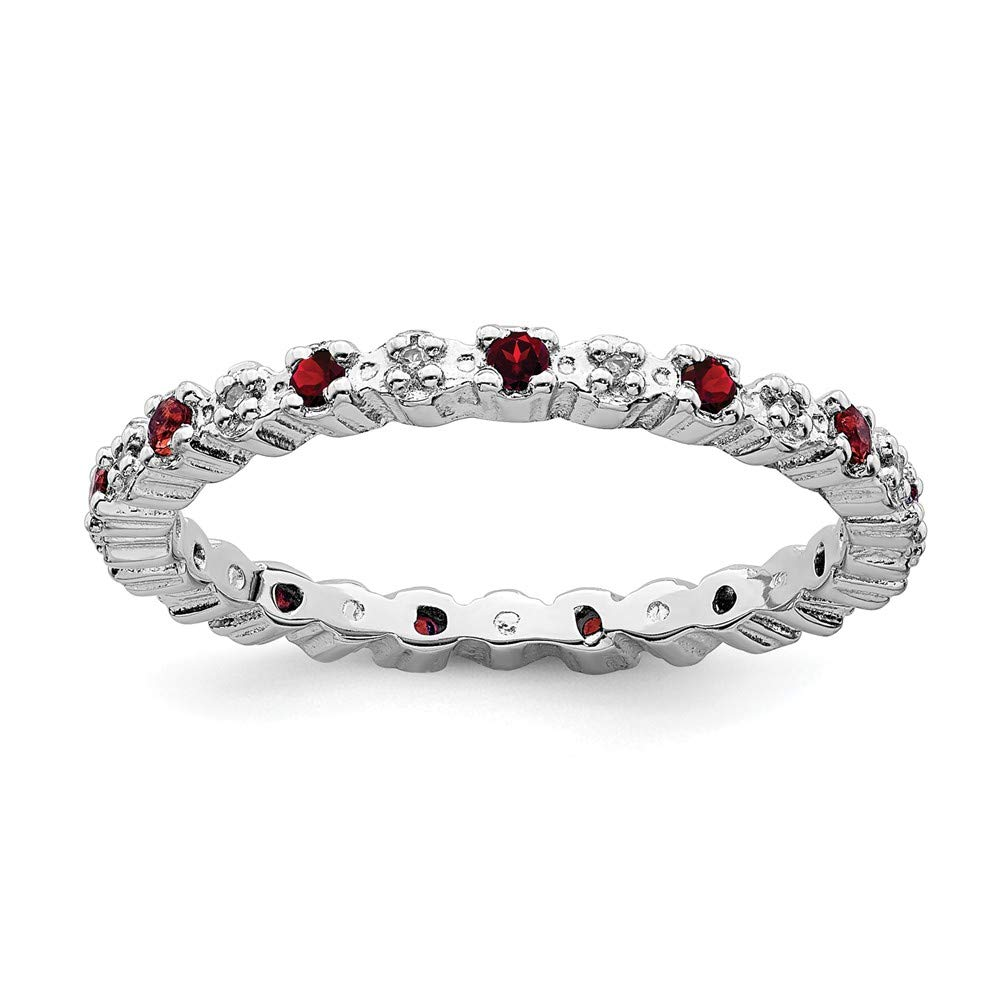 925 Sterling Silver Red Garnet Diamond Band Ring Stone Stackable Gemstone Birthstone January Fine Jewelry For Women Gift Set