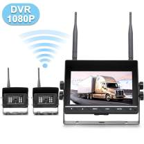 """EWAY 2 Wireless Backup Agriculture Barn Camera & 7"""" Monitor Kit Rear View Reverse Camera Built-in DVR with 16GB SD Card for Trucks RVs Horse Trailers Vans Big Rigs"""