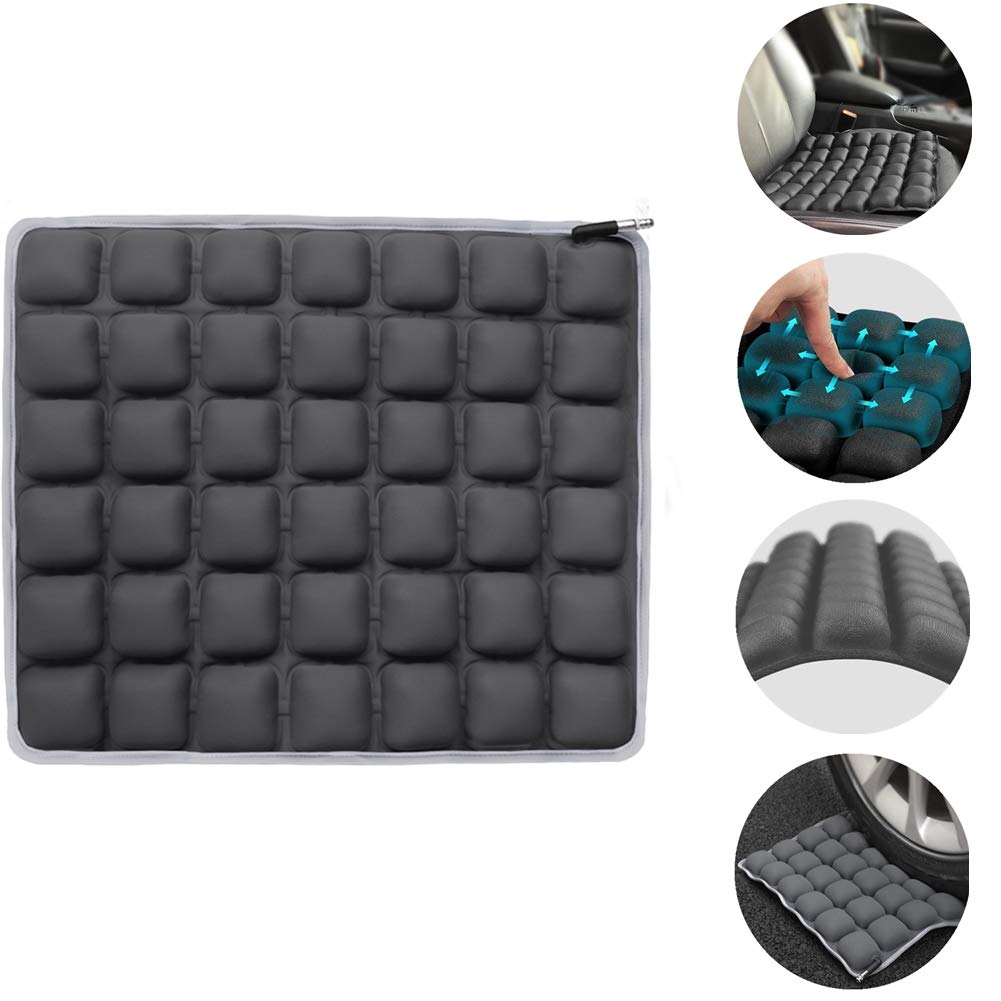 """Haerniubi Seat Cushion Air/Water Inflatable Chair Pad for Wheelchair, Office Chair, Cars, Home Living, Pressure Relief Pillow, Adjustable Volume & Softness Non-Slip Hip Protector 18"""" x 16"""" Gray"""