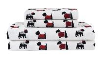 Elite Home Products Deep-Pocketed Winter Nights 100% Cotton Flannel Sheet Set, Full, Warm Doggies/Red