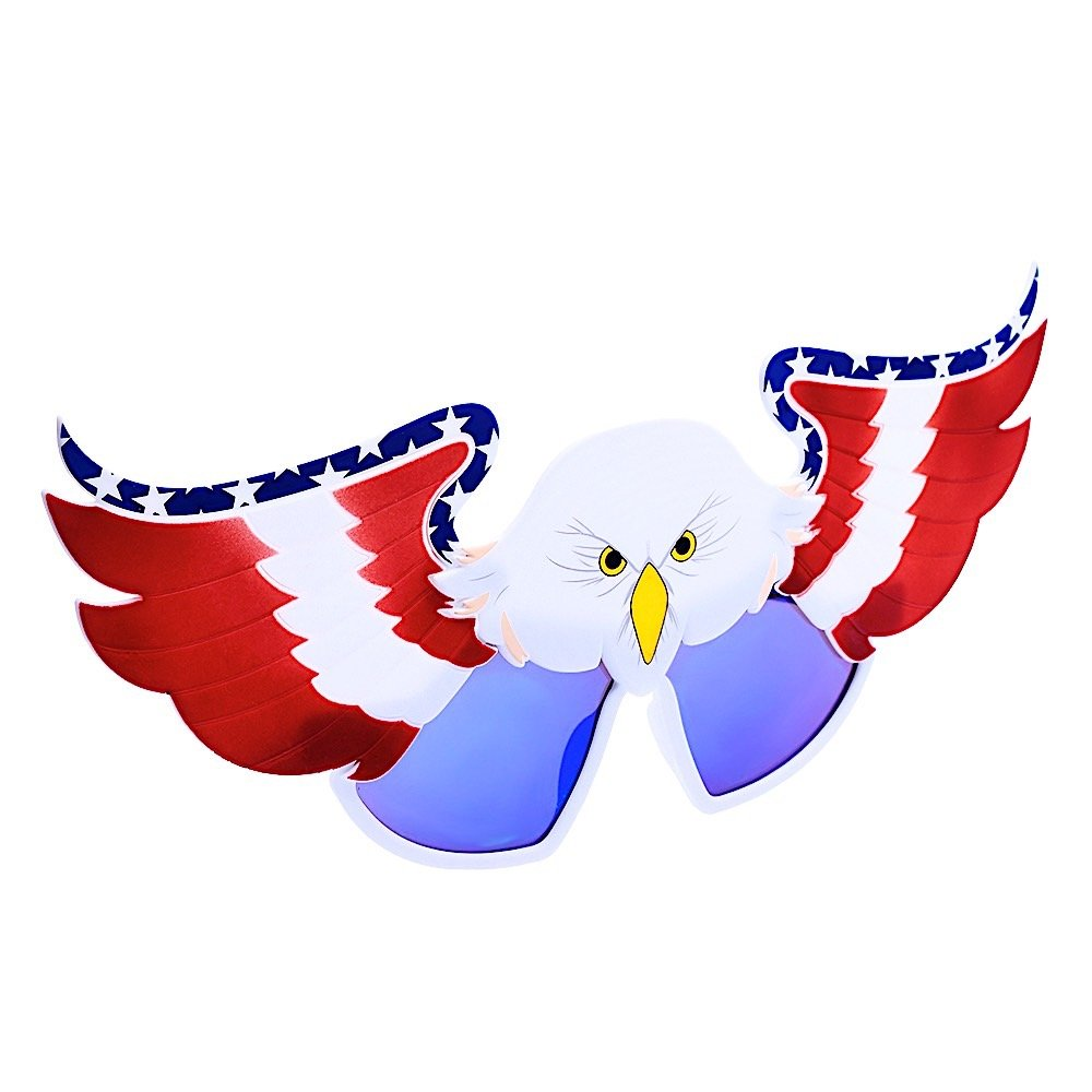 Sun-Staches Costume Sunglasses USA Eagle Americana Party Favors UV400