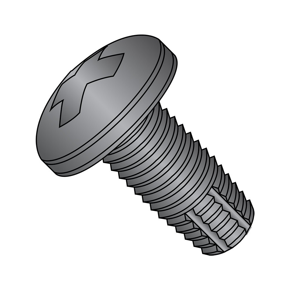 """Steel Thread Cutting Screw, Black Oxide Finish, Pan Head, Phillips Drive, Type F, #2-56 Thread Size, 5/16"""" Length (Pack of 100)"""