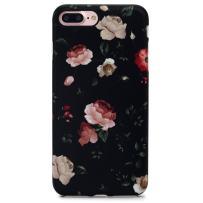 "GOLINK iPhone 7 Plus Case for Girls/iPhone 8 Plus Floral Case, Matte Floral Series Slim-Fit Anti-Scratch Shock Proof Anti-Finger Print Flexible TPU Gel Case for iPhone 7/8 Plus 5.5"" - Flower Black"