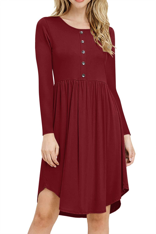 PinUp Angel Women's Long Sleeve Casual T-Shirt Dress Swing Pleated Flowy Peasant Dress