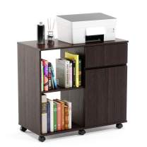Bestier Printer Stand with Storage Office Cabinet, Mobile Storage Cabinet with Wheels Wooden Under Desk Cabinet Storage Drawers Home Office Furniture Storage Cabinet Detachable Shelf for Home Office