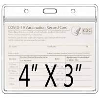 3 Pack-CDC Vaccine Card Protector 4 X 3 Inches Immunization Record Vaccination Cards Holder Clear Vinyl Plastic Sleeve 3 X 4 with Waterproof Type Resealable Zip (Card Sleeve Only)