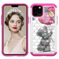 Lantier Heavy Duty Glitter Bling Hybrid Dual Layer 2 in 1 Hard Cover Soft TPU Impact Armor Defender Protective Shockproof Diamond Case for iPhone 11 Pro 5.8 Inch (2019) Bear