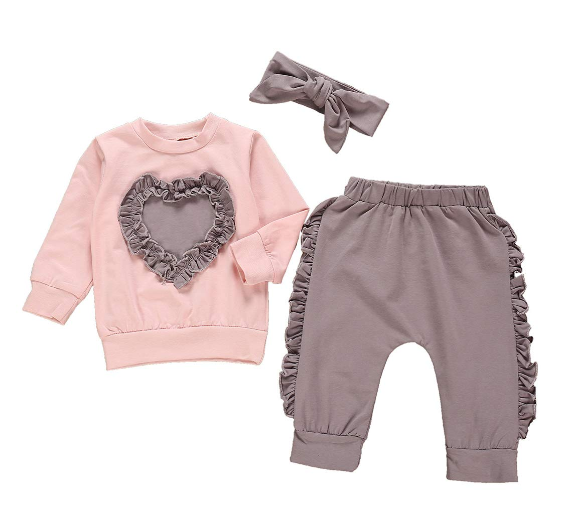 Newborn Baby Girl Clothes Love Heart Sweatshirt+Ruffle Pants+Headband Outfit Set