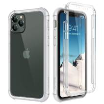 """SURITCH Clear Case for iPhone 11 Pro,【Built in Screen Protector】【Support Wireless Charging】 Hybrid Protection Hard Shell+Soft TPU Rubber Bumper Rugged Case Shockproof for iPhone 11 Pro 5.8""""(Clear)"""