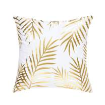 uxcell Throw Pillow Cover Gold Leaves Pattern Modern Decorative Pillow Shams Bronzing Flannelette Square Cushion Cover for Bedroom Sofa Car,18 X 18 Inches