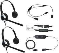 Deluxe USB Headset Training Solution (Includes 2 x TruVoice HD-550 Headset with Noise Canceling Microphone, USB Cable and Training Y Cable)