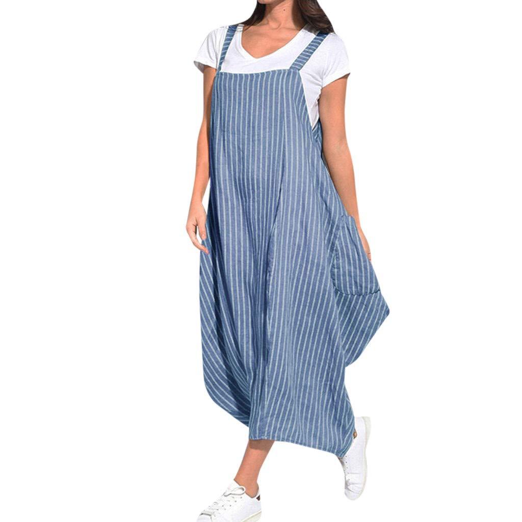 NEARTIME Women Casual Pants Dress, Vintage Loose Stripe with Pocket Dress Irregular Strap Skirts Sleeveless Tops