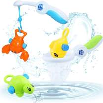 iPlay, iLearn Baby Bath Fishing Toys, Kids Bathtub Floating Toys, Toddlers Squirting Tub Toys with Rod & Net for Pool, Fun Bath Time Gift for 6, 9, 12, 18 Months 1, 2, 3 Year Olds Boys Girls