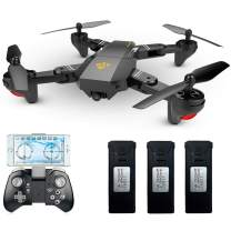 Teeggi VISUO XS809HW Drone with Camera, Live Video FPV RC WiFi Quadcopter with 720P HD 2MP 120° Wide-Angle Camera Altitude Hold, Headless Mode, One Key Return, APP Control Toys for Beginners