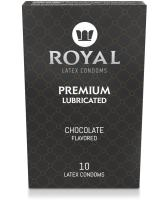 Royal Ultra-Thin Latex Condoms - Chocolate Flavored and Lubricated - Strong, FDA Approved Non-Toxic Latex - All Natural, Organic, Vegan, No Cruelty Contraceptive - Snug Fit, Accurate Sizing - 10 Pack
