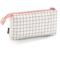 Oyachic White Pink Plaid Pencil Case,3 Compartment Cosmetic Makeup Storage Bag,Double Zippers Pencil Holer Canvas Pen Bag Large Capacity Pen Case