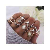 Drecode Boho Rings Set Gold Sparkly Rhinestones Knuckle Ring Bohemian Crystal Joint Knot Ring Stackable Hand Jewelry for Women and Girls(10Pcs)