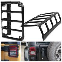 HOZAN Black Steel Rear Tail Light Cover Protector Guard for Jeep Wrangler JK & JK Unlimited Sahara Rubicon 2007-2017