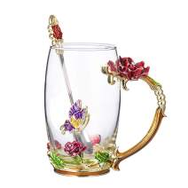 COAWG Flower Glass Tea Mug with Spoon, 12OZ Red Flower Lead-Free Hand Made Enamel Rose and Coloful Butterfly Clear Glass Coffee Cup Mother Graduation Girl