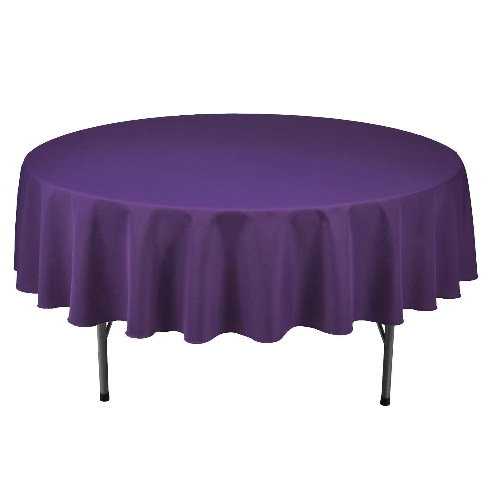 Remedios Round Tablecloth Solid Color Polyester Table Cloth for Bridal Shower Wedding Table – Wrinkle Free Dinner Tablecloth for Restaurant Party Banquet (Purple, 90 inch)