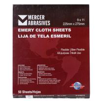 """Mercer Industries 216036 Grit 36 9"""" x 11"""" Multi-Purpose Emery Cloth Sheets (50-Pack)"""