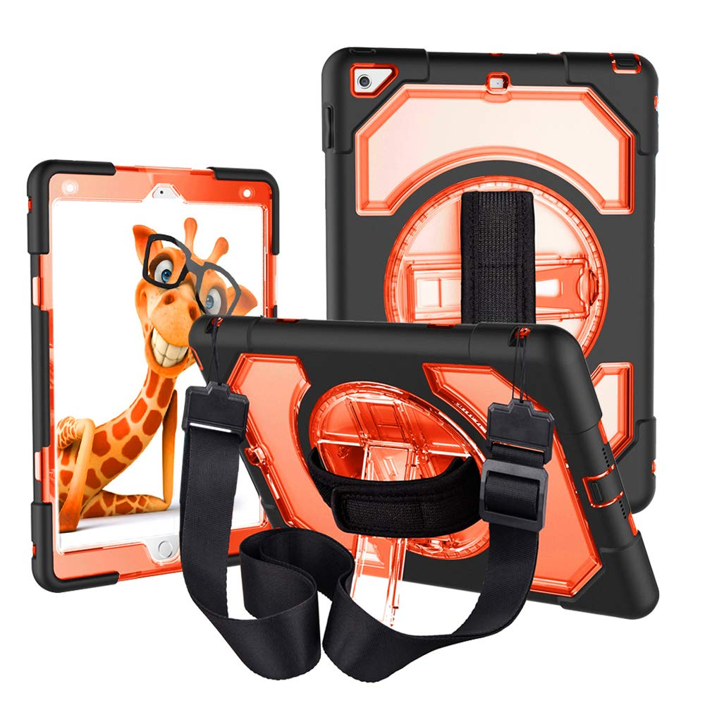 iPad 5th 6th Generation Case with Strap,CLARKCAS Shockproof Heavy Duty Protective Rugged Case for iPad 2018/2017 9.7 with 360° Swivel Stand, Hand Grip Strap, Adjustable Shoulder Strap