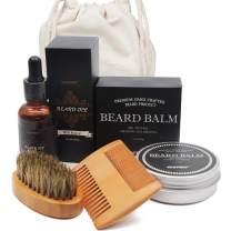 Beard Grooming Kit For Men - Beard Oil, Beard Balm, Beard Comb, Beard Brush - Genkent Natural Beard kit, Men Gift for Beard care - 4 Piece