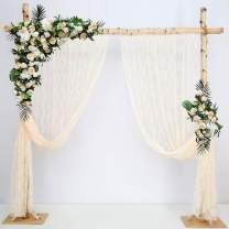 Ivory Lace Backdrop Curtains 2 Pieces 5ftx10ft Classic Lace Curtains for Party Arch Stage Baby Shower Photo Booth Home Window Spring Decoration