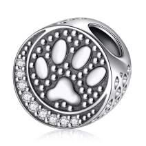 DALARAN Paw Print Charms 925 Sterling Silver Charm Beads for Snake Chain Bracelet Animal Pet Bead