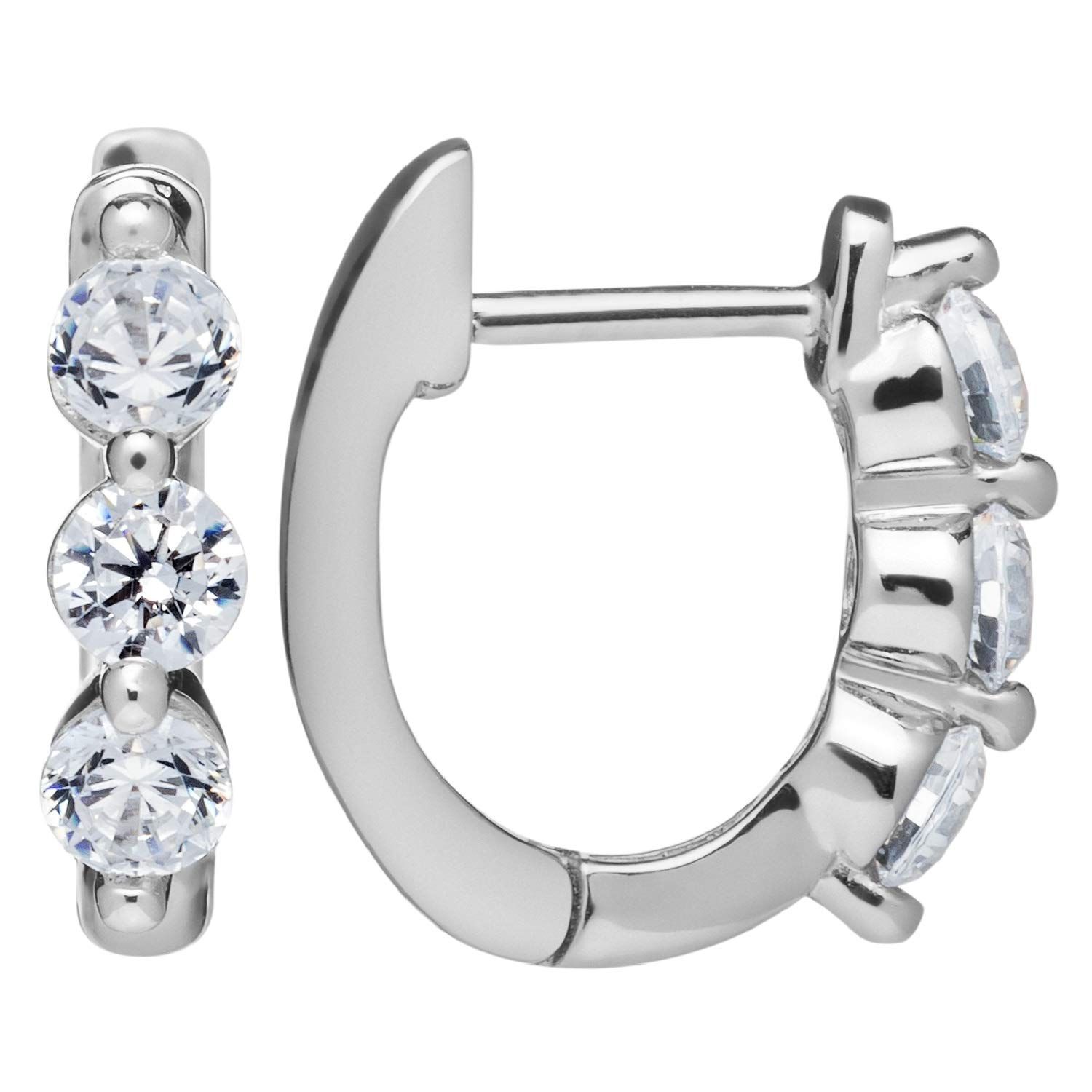 14K Solid White or Yellow Gold Earrings   Round Cut Huggie Hoop   Cubic Zirconia   Choose Pave or 3-Stone Setting   With Gift Box