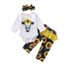 Newborn Baby Girl Toddler Outfits 3Pcs with White Cow Sunflower Romper+ Floral Pants +Headband