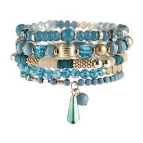 RIAH FASHION Bohemian Mix Bead Multi Layer Versatile Statement Bracelets - Stackable Beaded Strand Stretch Bangles Sparkly Crystal, Tassel Charm