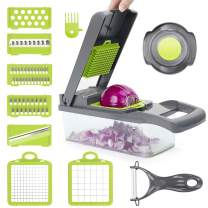 12 in 1 Vegetable Chopper Slicer, POWERAXIS Onion Choppers Food Dicer Veggie Slicer Cutter Cheese Grater With 8 Multi Functional Interchangeable Blades for Garlic Carrot Potato Tomato Fruit Salad