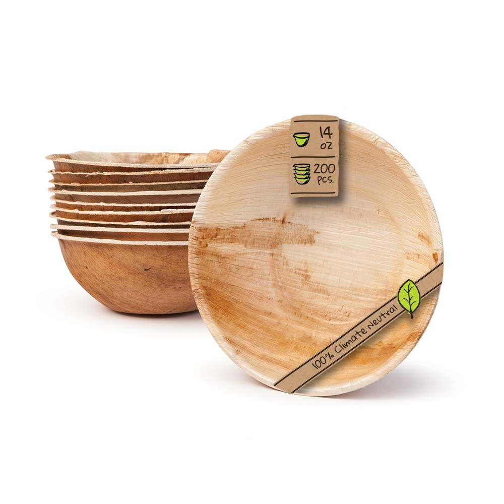 """Naturally Chic Palm Leaf Compostable Bowls - 6"""" Round Biodegradable Disposable Small Dinnerware Bulk Set - Eco Friendly - Bowls for Weddings, Parties, BBQs, Events (200 Pack)"""