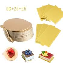 100-Pack Mini Cake Base Boards, Gold Mousse Cake Cardboard Set, Ideal for Dessert Buffet, Wedding, Parties, Catering Supplies (mixing set)