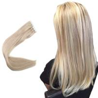 Easyouth 16inch Seamless Tape in Hair Skin Weft Real Human Hair Extensions Color 18 Ash Blonde Highlights with 613 Blonde 40Pcs 80Gram Glue in Hair Skin Weft Extensions