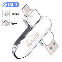 USB C Flash Drive 32GB, SRVR Flash Drive 2 in 1 Ports Type C and USB 3.0, OTG High Speed Dual Drive Memory Stick for Android Smartphone, MacBook & Tablets(32GB)