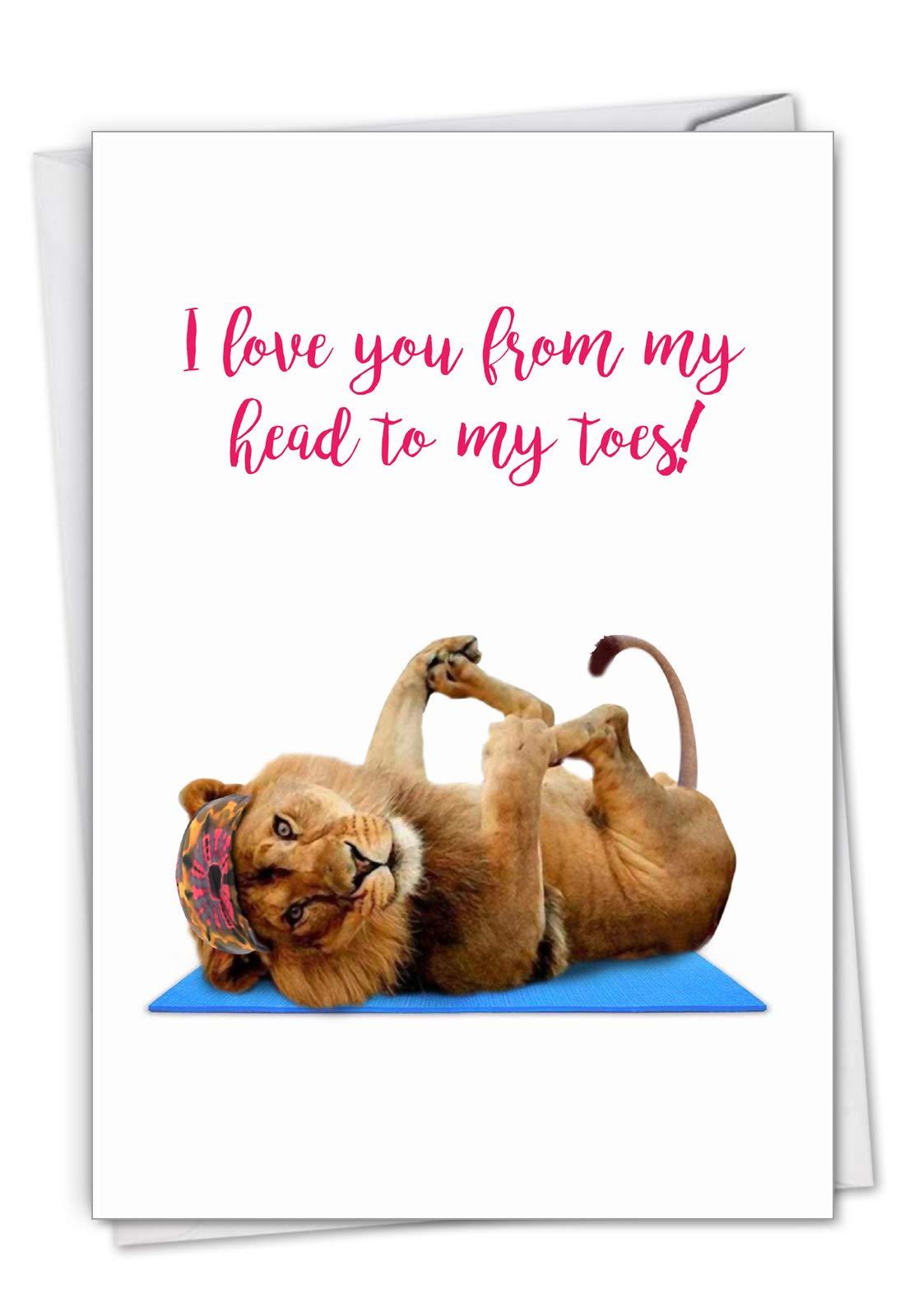 Wildlife Yoga Lion - Cute Happy Birthday Greeting Card with Envelope (4.63 x 6.75 Inch) - Cute Zoo Animal Yoga, Bday Note Card for Birthdays - Gym, Workout Stationery, Fun Bday Notecard C7030EBDG