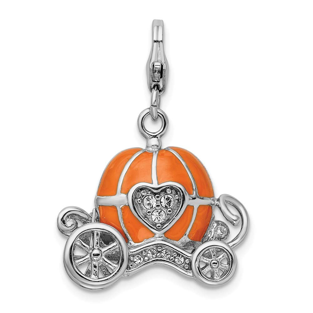 925 Sterling Silver Rh 3 D Enameled Carriage Lobster Clasp Pendant Charm Necklace Baby Fine Mothers Day Jewelry For Women Gifts For Her