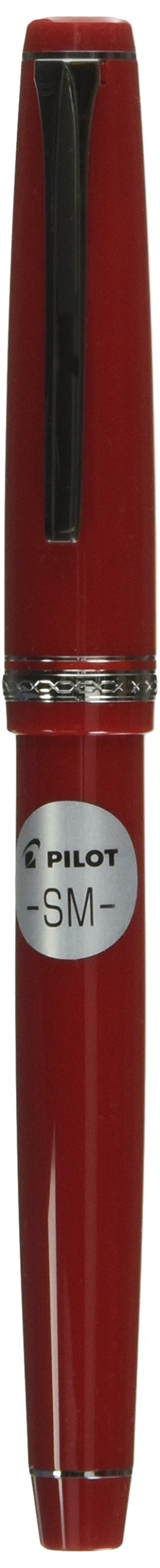 PILOT Falcon Collection Fountain Pen, Red Barrel with Rhodium Accents, Soft Medium Nib, Blue Ink (71622)