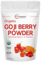 Organic Goji Powder, Freeze Dried, 8 Ounce, Natural Booster for Energy, Eye Health, Immune System and Immune Vitamin C for Antioxidant, No GMOs and Vegan Friendly