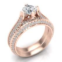 1.55 ct tw Round Cut Knife Edge Shank Diamond Wedding Ring Set 14K Gold - GIA Certificate