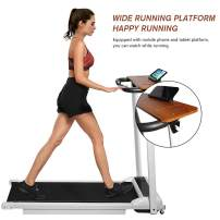 DKLGG Folding Electric Treadmill, Portable Household Treadmill, with Remote Control and Bluetooth Speaker & LCD Monitor, Exercise Fitness Machine for Home/Office Use