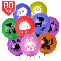 PROLOSO Animal Balloons Party Decrations Latex Balloons for Jungle Safari Woodland Theme Baby Shower Birthday Party Supplies 80 Pcs