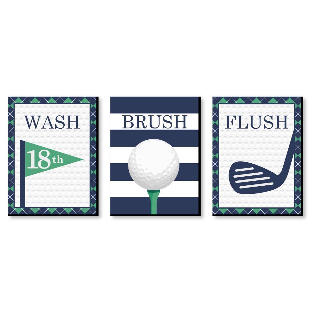 Big Dot of Happiness Par-Tee Time - Golf - Kids Bathroom Rules Wall Art - 7.5 x 10 inches - Set of 3 Signs - Wash, Brush, Flush