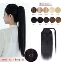 16 Inches 100% Real Human Hair Ponytail Extension One Piece Wrap Around Hairpiece With Comb Binding Pony Tail Extension For Girl Lady Women Long Straight #1B Natural Black 80g