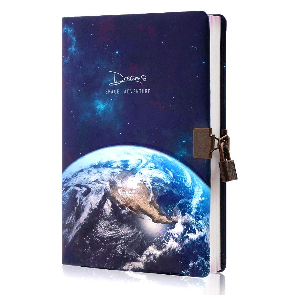 Planet Locking Journal for Boys&Kids, Lock Diary with Keys,PU Leather Cover Journal Personal Organizers,A5 Secret Notebook, Gift for Adults,8.38in x 5.7in