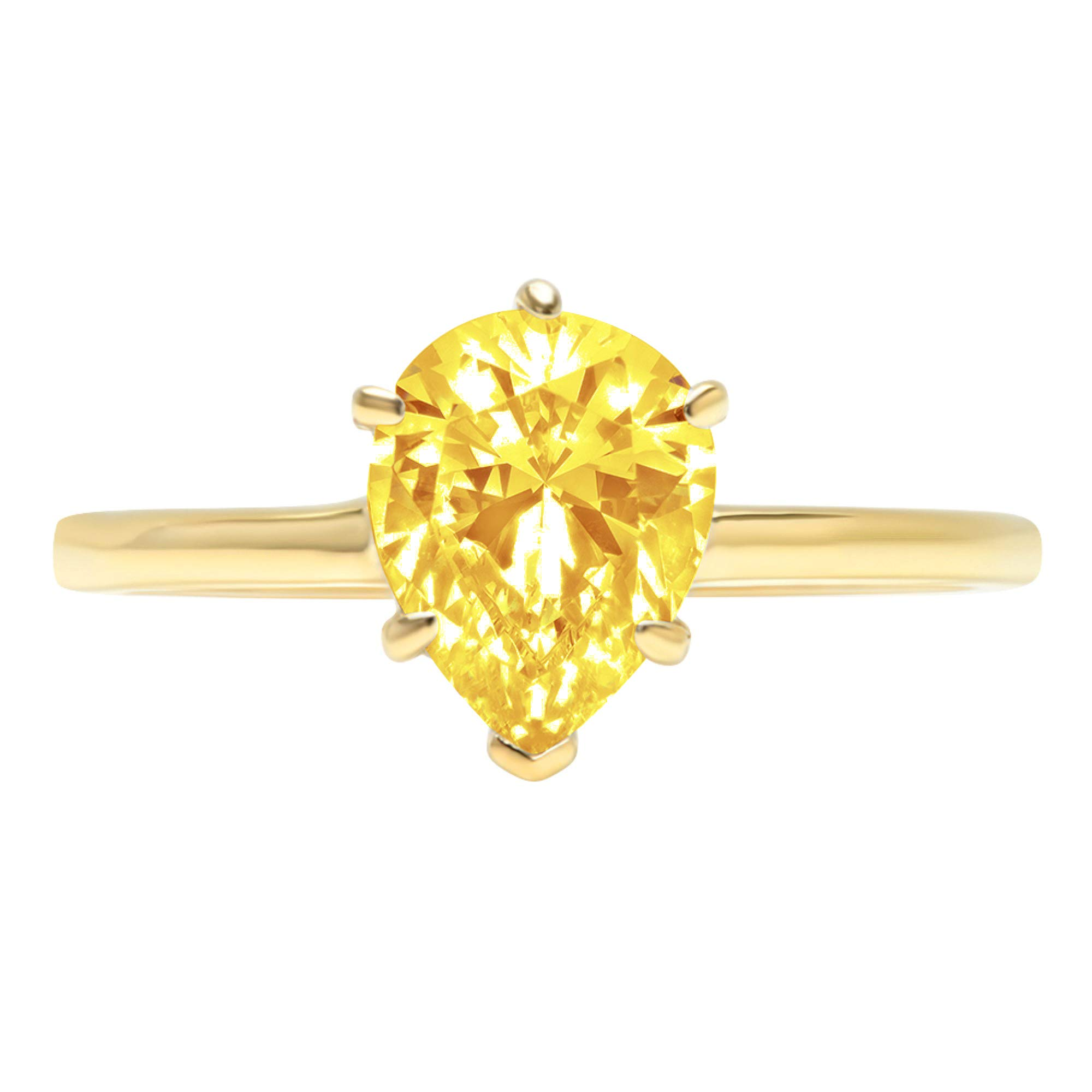 1.95ct Brilliant Pear Cut Solitaire Canary Yellow Simulated Diamond CZ Ideal VVS1 D 6-Prong Classic Designer Statement Ring Solid Real 14k Yellow Gold for Women